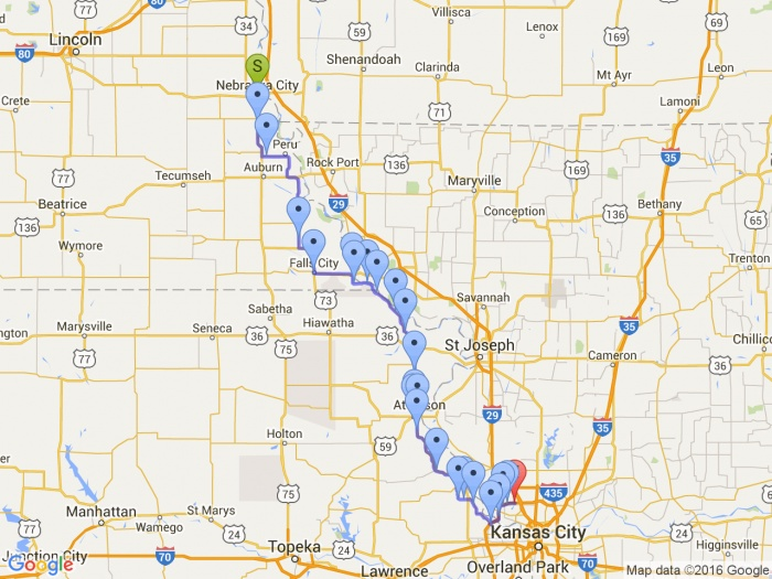 4 States - Route B Map